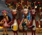 Groupe de rennes de Noël la célébration de Noël