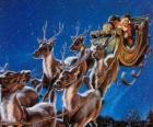 Le renne magique tirant le traîneau du Père Noël la nuit de Noël