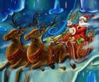 Le traîneau rempli de cadeaux de vol avec le Père Noël et les rennes magiques