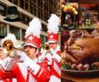 Célébration de Thanksgiving avec la dinde traditionnelle et le chapeau typique des Pilgrims. Aux États-Unis a lieu le quatrième jeudi de Novembre