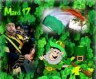 17 de mars. Fête de la Saint-Patrick est la célébration de la culture irlandaise. Trèfles utilisé comme un symbole de l'Irlande