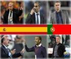 Les candidats à l'entraîneur de la Coupe du monde de soccer masculin de l'An 2010 (Vicente del Bosque, Pep Guardiola, José Mourinho)