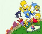 Les frères Simpson avec des amis Milhouse et Nelson sautant sur un trampoline