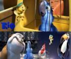 Blu ainsi que d'autres personnages dans le film de Rio