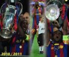 Éric Abidal collecte en tant que capitaine de la Coupe, Ligue des Champions 2010-2011