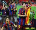 Leo Messi célébrant la Ligue des Champions 2010-2011