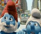 Grand Schtroumpf et Schtroumpf Maladroit, les rues de Manhattan. - Les Schtroumpfs, film -