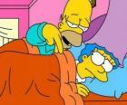 Homer et Marge dans le lit
