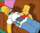 Bart est assis sur le ventre d'Homère