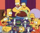 La famille Simpson sur le jour de Thanksgiving, où les familles se rassemblent pour manger