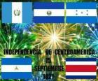 Indépendance de l'Amérique centrale, Septembre 15, 1821. Commémoration de l'indépendance de l'Espagne dans les pays modernes du Guatemala, du Honduras, El Salvador, Nicaragua et Costa Rica