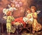 Plusieurs anges avec l'enfant Jésus