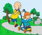 Caillou à faire une promenade avec la petite sœur dans la poussette