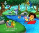 Dora et son ami signe Babouche sur un bateau
