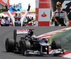 Pastor Maldonado célèbre sa victoire dans le Grand Prix d'Espagne (2012)