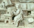 Moine copiste de travail à la plume et encre sur le parchemin ou le papier dans le scriptorium