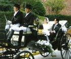 Les jeunes mariés sortint de la cérémonie dans une calèche