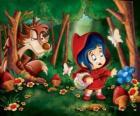 Le Petit Chaperon rouge dans la forêt avec le loup caché parmi les arbres