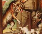 Les sept petits enfants ont peur et courir et se cacher quand ils voient le loup à la porte