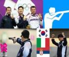 Podium de tir, hommes 10 m pistolet à air, Jin Jingoh (Corée du Sud), Luca Tesconi (Italie) et Andrija Zlatić (Serbie)