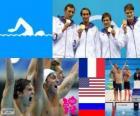 Podium de natation 4 X 100 m libre hommes, France, États-Unis et Russie - Londres 2012-