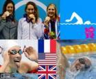 Podium natation 400 m libre femmes, Camille Muffat (France), Allison Schmitt (États-Unis) et Rebecca Adlington (Royaume Uni) - Londres 2012 -