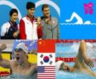 Podium natation 400 m nage libre hommes, Sun Yang (Chine), Park Tae-Hwan (sud de la Corée) et Peter Vanderkaay (États-Unis) - Londres 2012-