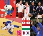 Podium Judo hommes - 66 kg, Lasha Shavdatuasvili (Géorgie), Miklos Ungvari (Hongrie) et Masashi Ebinuma (Japon), Cho Jun-Ho (Corée du Sud) - Londres 2012-