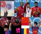 Podium Haltérophilie 69 kg hommes, Lin Qingfeng (Chine), Triyatno Triyatno (Indonésie) et Constantin Martin (Roumanie) - Londres 2012 -