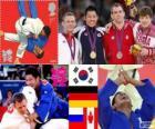Podium Judo hommes - 81 kg, Kim Jae-Bum (Corée du Sud), Ole Bischof (Allemagne) et Ivan Nifontov (Russie), Antoine Valois-Fortier (Canada) - Londres 2012-