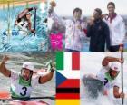 Podium Canoë-kayak slalom K1 hommes, Daniele Molmenti (Italie), Vavřinec Hradilek (République tchèque) et Hannes Aigner (Allemagne) - Londres 2012-