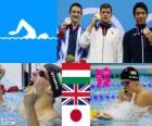 Podium natation 200 m brasse hommes, Daniel Gyurta (Hongrie), Michael Jamieson (Royaume Uni) et Ryo Tateishi (Japon) - Londres 2012-
