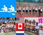 Podium Aviron huit femme, États-Unis, Canada et Pays-Bas - Londres 2012 -