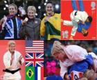Podium Judo femme - 78 kg, Kayla Harrison (Etats-Unis), Gemma Gibbons (Royaume Uni) et Mayra Aguiar (Brésil), Audrey (France) - Londres 2012 - Tcheumeo