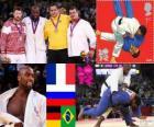 Podium masculin Judo plus de 100 kg, Teddy Riner (France), Alexandr Mijailin (Russie) et Andreas Tolzer (Allemagne), Rafael Silva (Brésil) - Londres 2012-