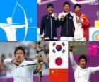 Tir amb arc individu masculina podi, Oh Jin-Hyek (Corea del Sud), Takaharu Furukawa (Japó) i compositor Dai (Xina) - Londres 2012-