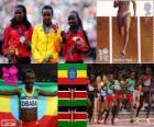 Podium d'athlétisme 10 000 m féminin, Tirunesh Dibaba (Ethiopie), Sally Kipyego et Vivian Cheruiyot (Kenya) - Londres 2012-