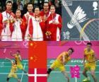 Podium Badminton double mixte, Zhang Nan et Zhao Yunlei (Chine), Xu Chen, Ma Jin (Chine) et Joachim Fischer/Christinna Pedersen (Danemark) - Londres 2012 -