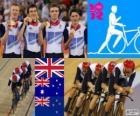 Podium cyclisme sur piste poursuite par équipes 4000 m masculines, Royaume-Uni, Australie et Nouvelle-Zélande - Londres 2012-