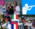 Podium tir trap femmes, Jessica Rossi (Italie), Zuzana Štefečekova (Slovaquie) et Delphine Réau (France) - Londres 2012-