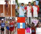 Podium d'athlétisme 20 kilomètres marche hommes, Chen Ding (Chine), Erick Barrondo (Guatemala) et Wang Zhen (Chine) - Londres 2012-