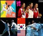 Podium escrime féminine par équipes, Chine, Corée du Sud et aux États-Unis, Londres 2012