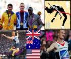 Podium athlétisme saut en longueur hommes, Greg Rutherford (Royaume Uni), Mitchell Watt (Australie) et Will Claye (États-Unis), Londres 2012