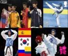 Poduim Taekwondo - 58 kg hommes, Joel Bonilla Gonzalez (Espagne), Lee Dae-Hoon (Corée du Sud), Alexei Denisenko (Russie) et Oscar Muñoz Oviedo (Colombie), Londres 2012