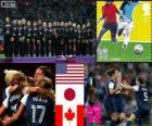 Podium football féminin, États-Unis, Japon et Canada, Londres 2012
