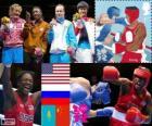 Podium boxe moyens femmes, Claressa Shields (États-Unis), Nadezda Torlopova (Russie), Marina Volnova (Kazakhstan) et Li jinzi (Chine), Londres 2012