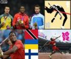 Podium athlétisme lancer du javelot hommes, Keshorn Walcott (Trinidad et Tobago), Olexandr Piatnytska (Ukraine) et Antti Ruuskanen (Finlande), Londres 2012