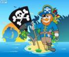 Dessin de capitaine pirate sur une île