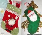Chaussettes de Noël décoré avec le Père Noël
