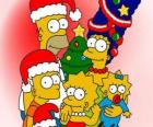 Les Simpsons en vous souhaitant un Joyeux Noël